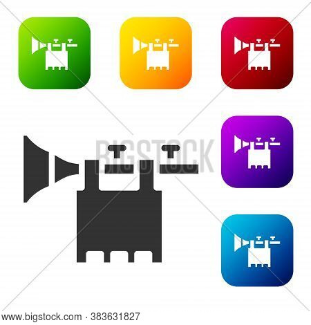 Black Trumpet With Flag Icon Isolated On White Background. Musical Instrument Trumpet. Set Icons In