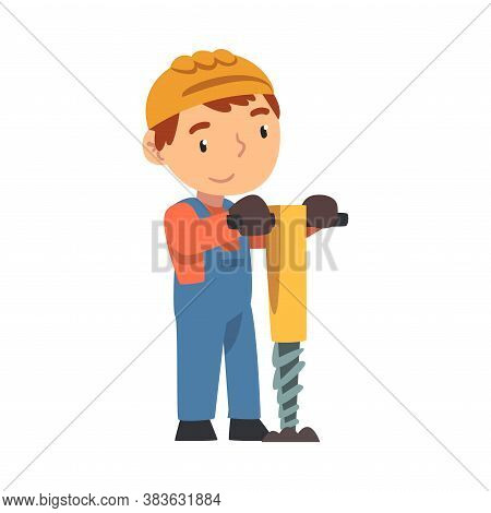 Boy Construction Worker With Pneumatic Plunger, Cute Little Builder Character Wearing Blue Overalls