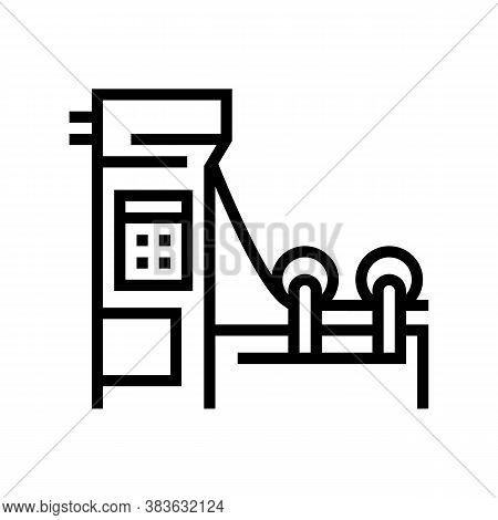 Paper Production Machine Line Icon Vector. Paper Production Machine Sign. Isolated Contour Symbol Bl