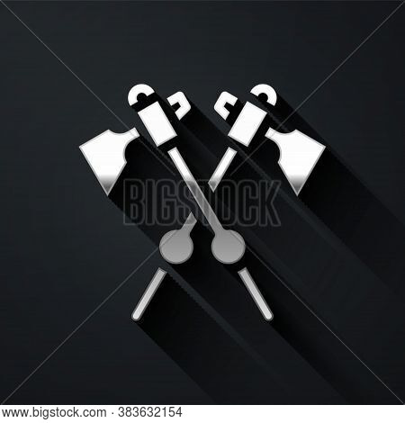 Silver Crossed Medieval Axes Icon Isolated On Black Background. Battle Axe, Executioner Axe. Medieva