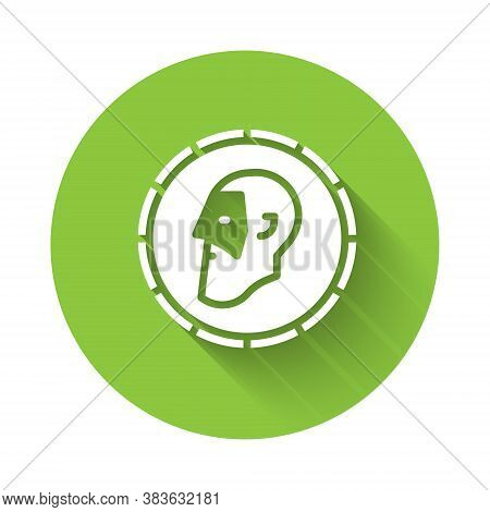 White Ancient Coin Icon Isolated With Long Shadow. Green Circle Button. Vector
