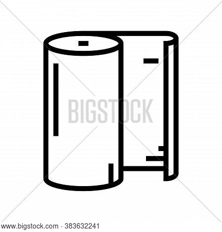 Paper Roll Line Icon Vector. Paper Roll Sign. Isolated Contour Symbol Black Illustration