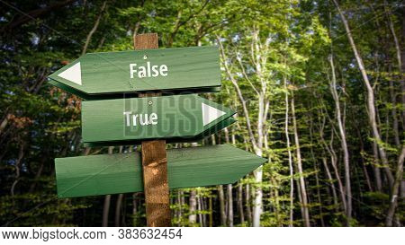 Street Sign The Direction Way To True Versus False