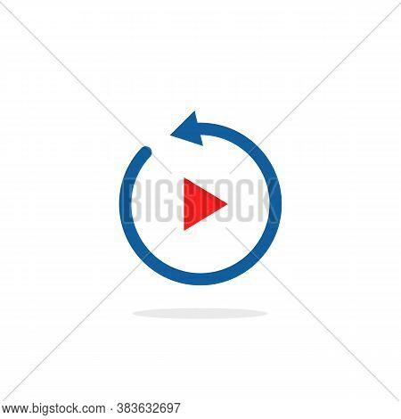Replay Simple Icon Isolated On White. Flat Cartoon Trend Modern Round Recap Logotype Graphic Design