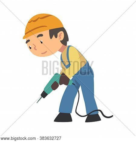 Boy Construction Worker With Drill, Cute Little Builder Character Wearing Blue Overalls And Hard Hat