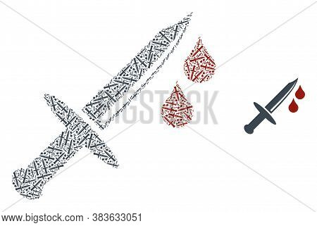 Vector Blood Knife Composition Is Constructed With Scattered Recursive Blood Knife Pictograms. Recur