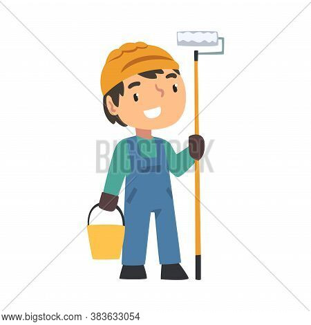 Boy Construction Worker With Bucket And Paint Roller, Cute Little Builder Character Wearing Blue Ove