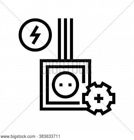 Socket Installation Line Icon Vector. Socket Installation Sign. Isolated Contour Symbol Black Illust