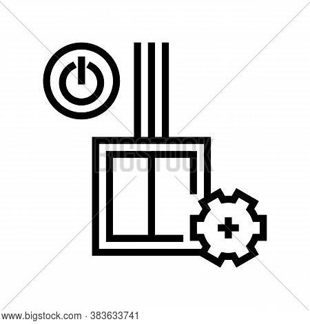 Switch Installation Line Icon Vector. Switch Installation Sign. Isolated Contour Symbol Black Illust