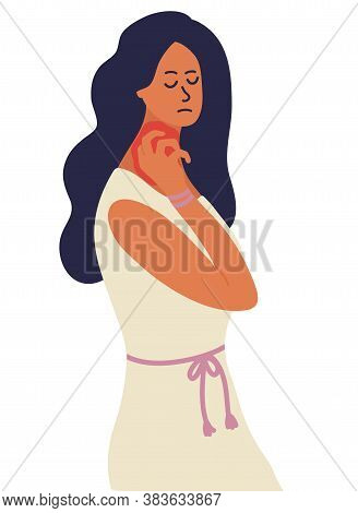 Caucasian Woman Is Scratching Skin On Her Neck Or Throat With Nails. Eczema, Allergies, Atopic Derma