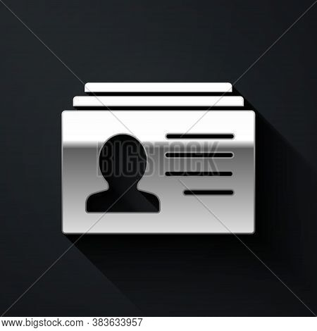 Silver Resume Icon Isolated On Black Background. Cv Application. Searching Professional Staff. Analy