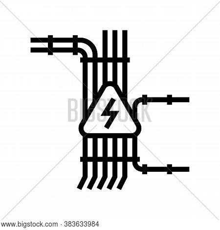 Electric Wiring Line Icon Vector. Electric Wiring Sign. Isolated Contour Symbol Black Illustration