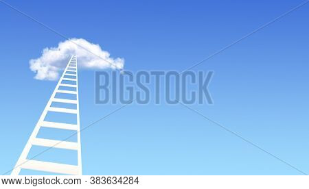 Ladder of Success Concept. Horizontal banner with stair in cloud on blue sky background. Steps to heaven. Fantastic scene with Stairway to heaven. Mock up template. Copy space for text. 3d render