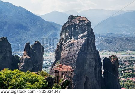 Scenic View Of The Mountains And Monastery At Meteora, Greece. Selective Focus