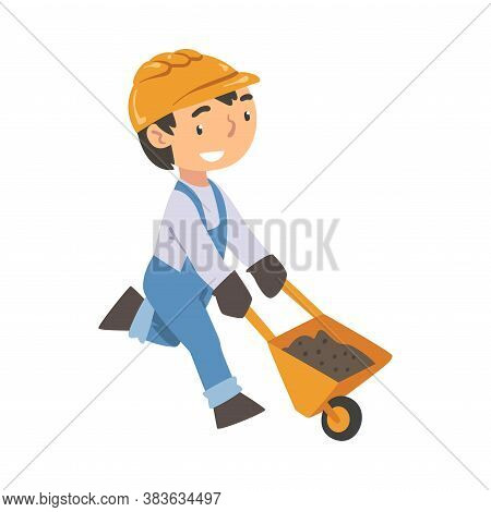 Boy Construction Worker Pushing Wheelbarrow, Cute Little Builder Character Wearing Blue Overalls And