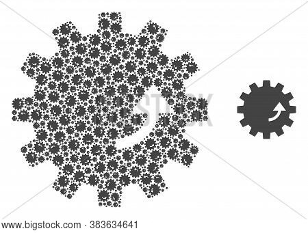 Vector Gear Rotation Composition Is Constructed Of Randomized Self Gear Rotation Parts. Fractal Comp