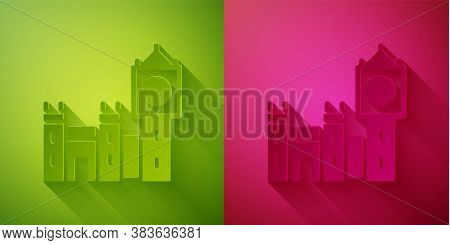 Paper Cut Big Ben Tower Icon Isolated On Green And Pink Background. Symbol Of London And United King