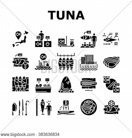 Tuna Auction Tsukiji Market Collection Icons Set Vector. Tuna Fishing And Delivery, Fish Meat And Fi