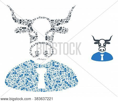 Vector Bull Boss Composition Is Formed With Scattered Recursive Bull Boss Parts. Recursion Compositi