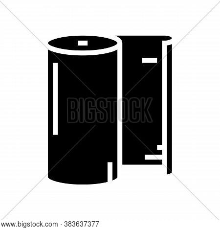 Paper Roll Glyph Icon Vector. Paper Roll Sign. Isolated Contour Symbol Black Illustration