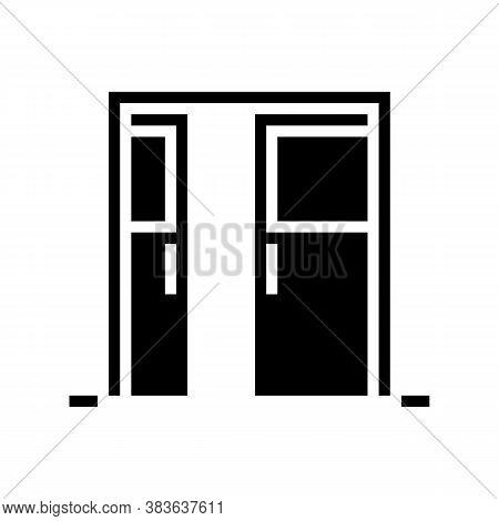 Sliding Double Door Glyph Icon Vector. Sliding Double Door Sign. Isolated Contour Symbol Black Illus