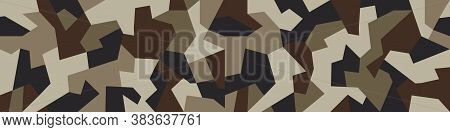 Military Camo Seamless Pattern. Geometric Camouflage Backdrop In Sand And Desert Brown Color. Stock