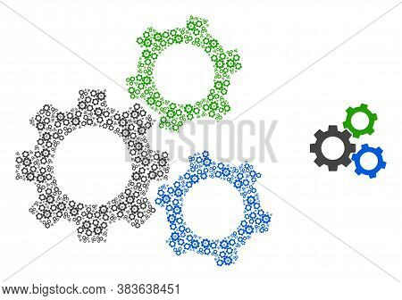 Vector Cogwheels Collage Is Constructed From Random Recursive Cogwheels Pictograms. Recursive Collag