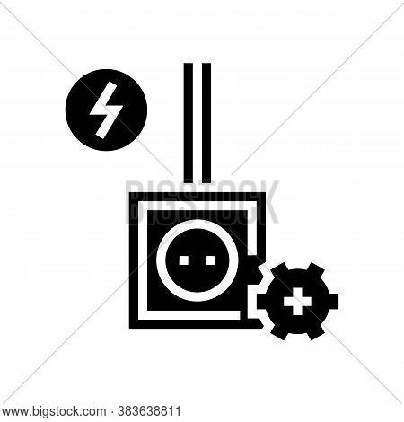 Socket Installation Glyph Icon Vector. Socket Installation Sign. Isolated Contour Symbol Black Illus