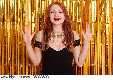 Beautiful Excited Woman With Beautiful Red Hair At Celebration Party, Birthday Or New Year Eve Celeb