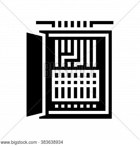Electrical Fuses Box Glyph Icon Vector. Electrical Fuses Box Sign. Isolated Contour Symbol Black Ill