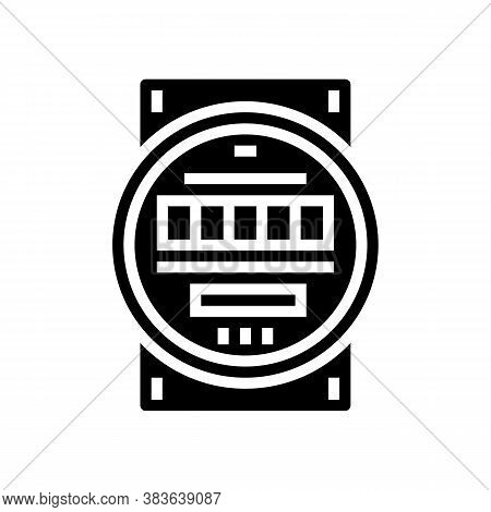 Electric Meter Glyph Icon Vector. Electric Meter Sign. Isolated Contour Symbol Black Illustration