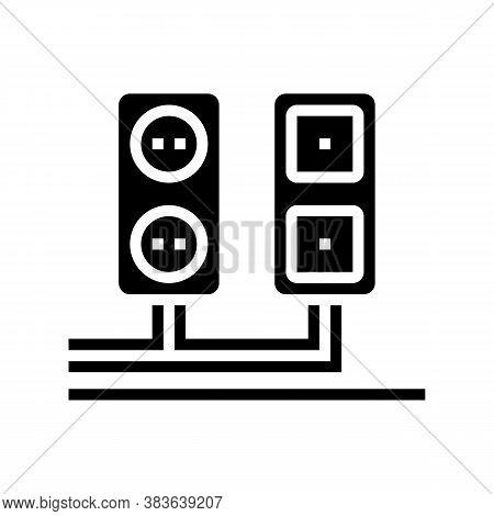 Socket And Antenna Output Installation Glyph Icon Vector. Socket And Antenna Output Installation Sig