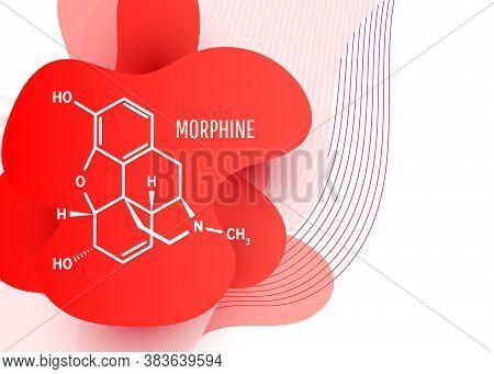 Morphine Chemical Formula, Opium Alkaloid. Isolated From Opium Poppy Papaver Somniferum.