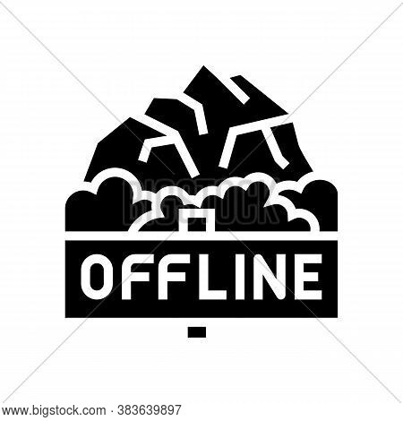 Offline Mountain Travel Glyph Icon Vector. Offline Mountain Travel Sign. Isolated Contour Symbol Bla