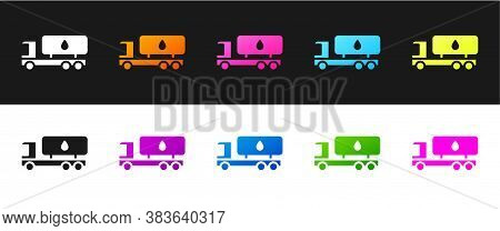 Set Tanker Truck Icon Isolated On Black And White Background. Petroleum Tanker, Petrol Truck, Cister