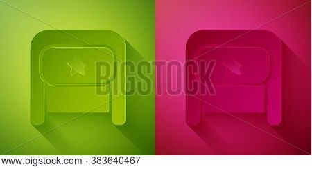 Paper Cut Ushanka Icon Isolated On Green And Pink Background. Russian Fur Winter Hat Ushanka With St