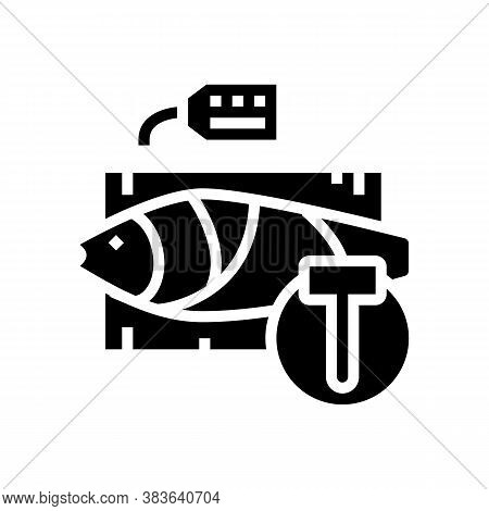 Tuna Fish Auction Rate Glyph Icon Vector. Tuna Fish Auction Rate Sign. Isolated Contour Symbol Black