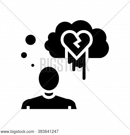 Suicide Psychological Problems Glyph Icon Vector. Suicide Psychological Problems Sign. Isolated Cont