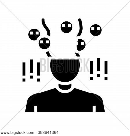 Phobia Psychological Problems Glyph Icon Vector. Phobia Psychological Problems Sign. Isolated Contou