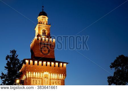 Large Clock On The Castello Sforzesco Castle. Milan Italy 08.2020