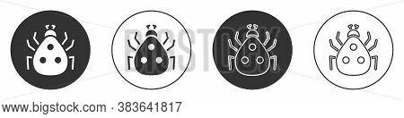 Black Ladybug Icon Isolated On White Background. Circle Button. Vector