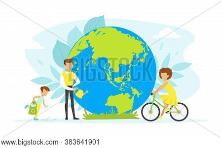 People Taking Care About Planet Ecology, Tiny Characters Cleaning, Watering And Using Eco Friendly T