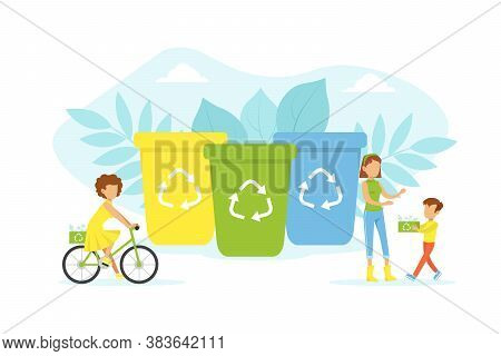 People Taking Care About Planet Ecology, Tiny Characters Putting Rubbish Into Trash Bins, Ecology An