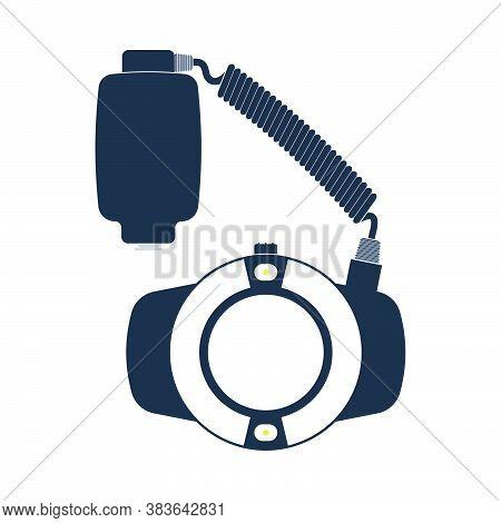Icon Of Portable Circle Macro Flash. Flat Color Design. Vector Illustration.