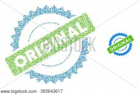 Vector Original Stamp Collage Is Created With Repeating Recursive Original Stamp Elements. Recursive