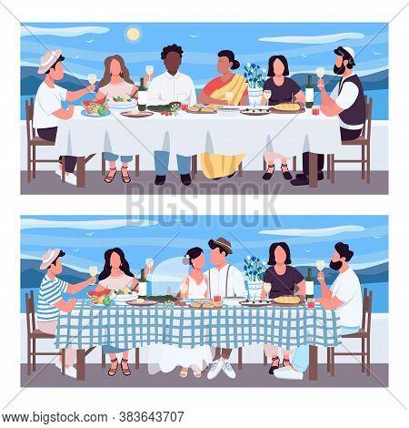 Greek Banquet Flat Color Vector Illustration Set. Wedding Celebration At Table. Friends On Holiday I