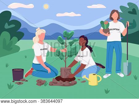 Ecofeminism Flat Color Vector Illustration. Volunteers Plant Tree. Girl Scouts Protect Nature. Femal