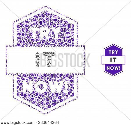 Vector Try It Now Stamp Composition Is Organized From Randomized Recursive Try It Now Stamp Pictogra