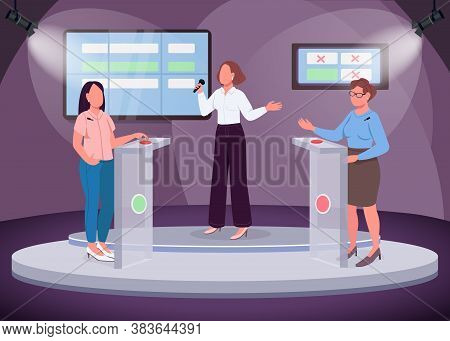 Intellectual Show Flat Color Vector Illustration. Two Girls Taking Quiz. Intelligent Television Show