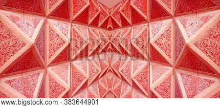Pop Art Style Diminishing Perspective Of A Symmetry Architectural Lines In Vibrant Red Color
